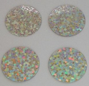 Extra Large 40mm Silver Hologram Sequins x 40